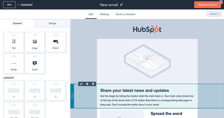 Free Email Marketing tools in the HubSpot CRM